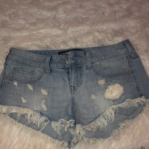 light wash distressed express jean shorts
